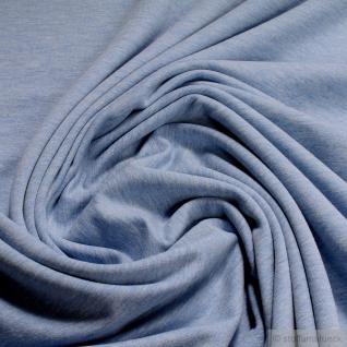 Stoff Baumwolle Single Jersey hellblau meliert angeraut Sommersweat weich