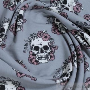 Stoff Baumwolle Elastan Single Jersey grau Totenkopf angeraut weich