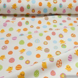 Stoff Baumwolle Polyester ecru Küken Osterei bunte Eier Ostern