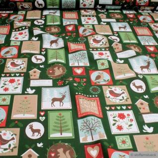 Weihnachtsstoff Stoff Baumwolle grün Patchwork Winter Let it snow