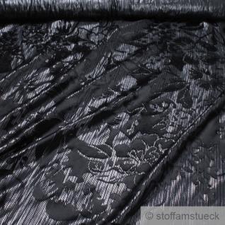 Stoff Seide Batist silber Blume schwarz transparent fließend fallend knitterarm