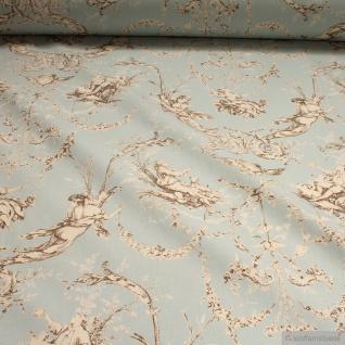 Stoff Baumwolle Rips Toile de Jouy l'amour hellblau braun 2, 8 m breit Verliebte