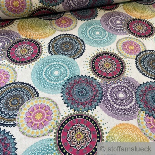 Stoff Baumwolle Rips weiß Mandala Rosette fabenfroh