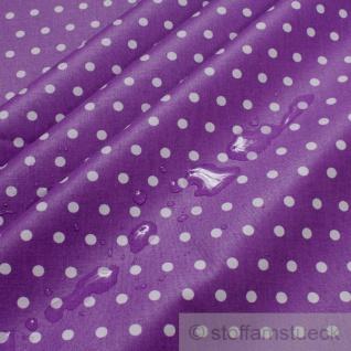 Stoff Baumwolle Acryl Punkte klein lila weiß Regenjacke Wachstuch Tischdecke
