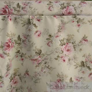 Stoff Baumwolle Polyester ecru Rose Rosen pflegeleicht