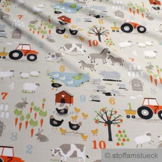 0, 5 Meter Kinderstoff Baumwolle Elastan Single Jersey beige Bauernhof Traktor