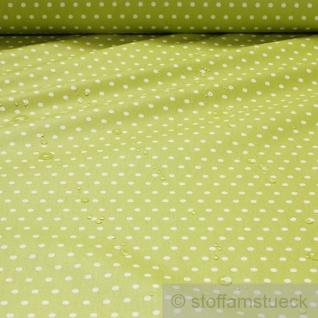Stoff Baumwolle Acryl Punkte klein kiwi weiß Regenjacke Wachstuch Tischdecke