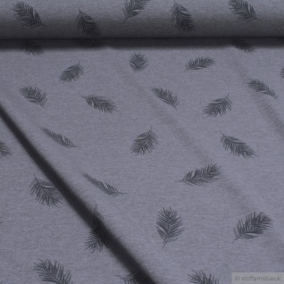 0, 5 Meter Baumwolle Polyester Elastan Single Jersey dunkelgrau meliert Feder - Vorschau 2