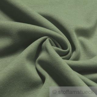 0, 5 Meter Stoff Baumwolle Interlock Jersey schilfgrün T-Shirt weich dehnbar
