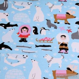 Kinderstoff Baumwolle Elastan Single Jersey hellblau Eskimo little Darling Robbe