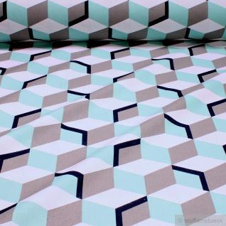 Stoff Baumwolle Rips weiß 3d Würfel überbreit 280 cm breit Baumwollstoff