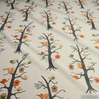 Stoff Baumwolle Polyester Rips natur Waldtiere Vogelhäuschen Vögel Eichhörnchen