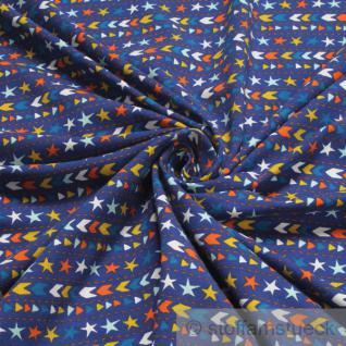 Stoff Kinderstoff Baumwolle Lycra Single Jersey kobaltblau Stern Pfeil Öko-Tex