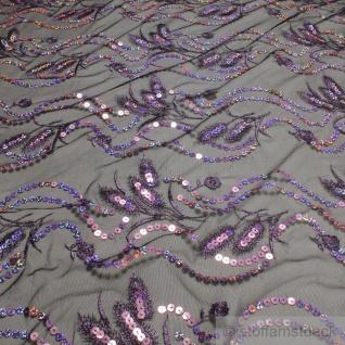 Stoff Polyamid Polyester Elastan Tüllspitze schwarz Feder lila Paillette weich