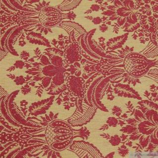 Stoff Polyester Baumwolle Jacquard Ornament gold bordeaux 280 cm breit - Vorschau 2