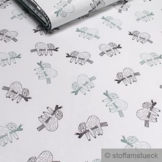 Stoff Kinderstoff Polyester Elastan Soft Shell weiß Faultier atmungsaktiv Jacke