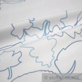 Stoff Polyester Baumwolle Köper weiß Blätter pflegeleicht Blatt - Vorschau 2