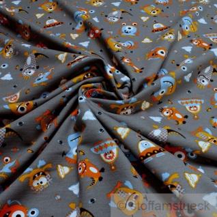 Stoff Kinderstoff Baumwolle Single Jersey grau Monster orange angeraut Sweatshirt