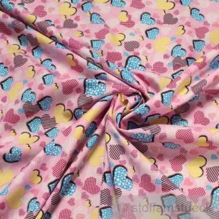 2 Meter Stoff Kinderstoff Baumwolle rosa Herzchen Herz Baumwollstoff