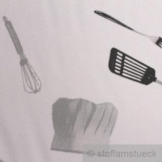 Stoff Polyester Baumwolle Köper Hobbykoch Köchin Kochmütze Kochjacke Gabel Küchenstoff - Vorschau 5