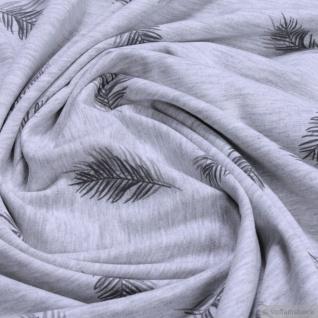 Stoff Baumwolle Polyester Elastan Single Jersey hellgrau meliert Feder