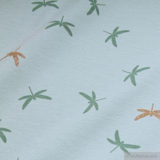 Stoff Baumwolle Lycra Single Jersey pastelltürkis Libelle Glitter Glitzer weich