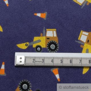 Stoff Kinderstoff Baumwolle Polyester Nicki blau Radlader Nicky Baumaschine - Vorschau 4