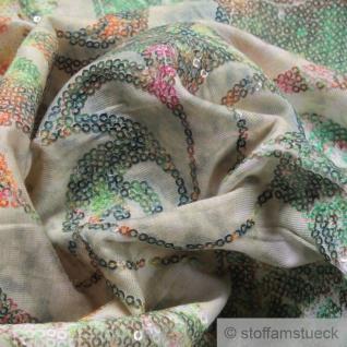 0, 5 Meter Stoff Viskose Elastan Single Jersey ecru Pailletten Blumen Stickerei - Vorschau 3