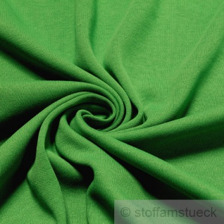 0, 5 Meter Stoff Baumwolle Interlock Jersey grün T-Shirt weich dehnbar grasgrün
