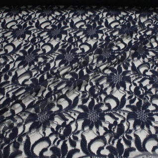 Stoff Polyamid Polyester Elastan Spitze dunkelblau Blume fließend fallend weich blau
