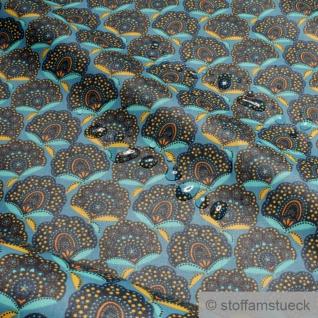 Stoff Baumwolle Acryl blau Fächer wasserabweisend beschichtet