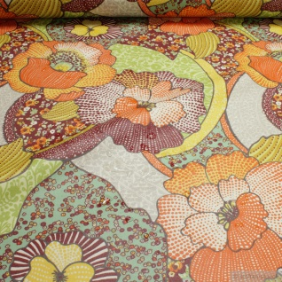 Stoff Baumwolle Acryl Orchidee orange wasserabweisend beschichtet Tischdecke
