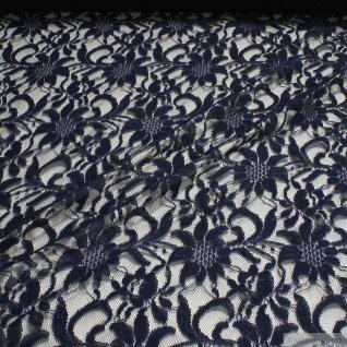 Stoff Polyamid Polyester Elastan Spitze dunkelblau Blumen fließend fallend weich blau