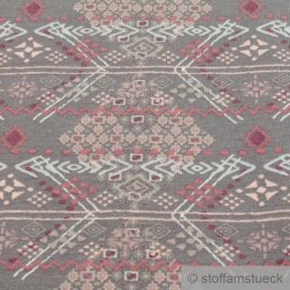 0, 5 Meter Stoff Baumwolle Elastan Single Jersey French Terry grau Ethno Tribal - Vorschau 2