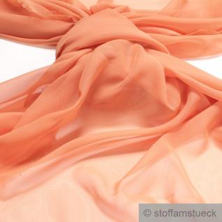 Stoff Polyester Chiffon pastellorange transparent leicht weich fallend