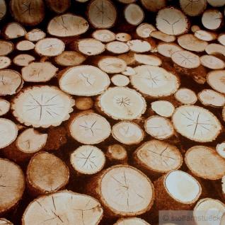 Stoff Baumwolle Polyester Rips Holzscheibe Baumscheibe Holz Fotodruck