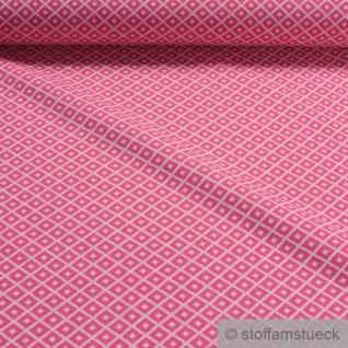 0, 5 Meter Recycelt Baumwolle Polyester Elastan Jacquard Jersey Raute pink ecru