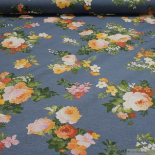 Stoff Baumwolle Polyester blau Rose Rosen Blumen allover