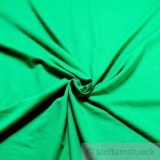 0, 5 Meter Stoff Baumwolle Single Jersey grasgrün angeraut Sweatshirt weich