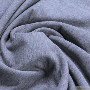 0, 5 Meter Stoff Baumwolle Polyester Elastan Jersey angeraut hellgrau meliert
