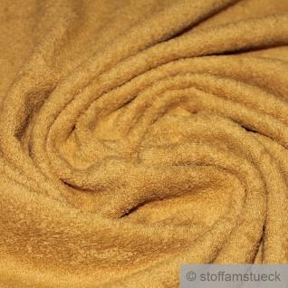Stoff Bio-Baumwolle Frottee ocker Frotté zweiseitig Baumwollstoff dick weich