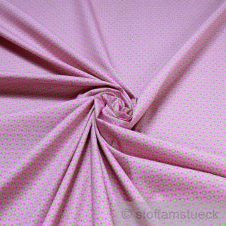 2 Meter Stoff Baumwolle Popeline rosa Kringel hellgrün Punkte Baumwollstoff