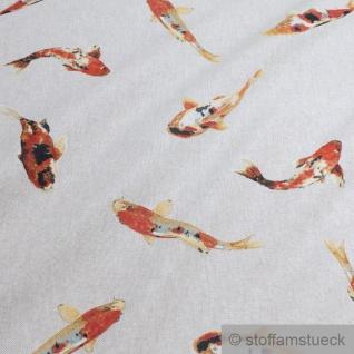Stoff Baumwolle Polyester Rips natur Koi Karpfen Nishikigoi Spiegelkarpfen - Vorschau 2