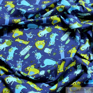 Kinderstoff Baumwolle Lycra Single Jersey kobaltblau Monster nette Monster