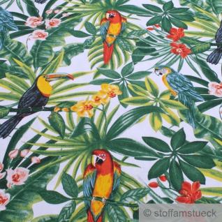 Stoff Baumwolle weiß Dschungel Papagei breit 280 cm Blatt Blätter Palme - Vorschau 2