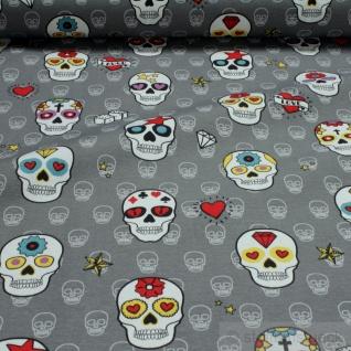 Stoff Baumwolle grau Totenkopf bunt Mexiko Tag der Toten Totenkopfmasken