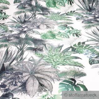 Stoff Polyester Samt weiß Dschungel Agave weich anschmiegsam