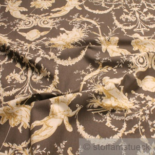Stoff Baumwolle Rips Toile de Jouy l'amour braun beige 280 cm breit Verliebte