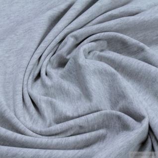 0, 5 Meter Stoff Bio-Baumwolle Elastan Single Jersey hellgrau meliert kbA grau