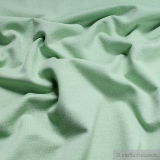 Stoff Baumwolle Single Jersey pastellgrün angeraut Sweatshirt weich dehnbar grün - Vorschau 2
